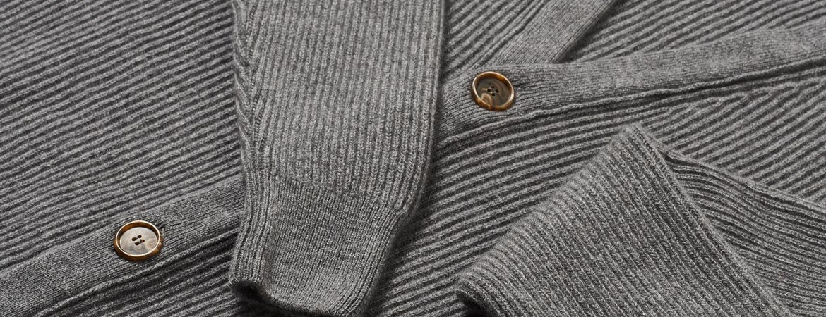 Mens Cashmere Fisherman Rib Cardigan